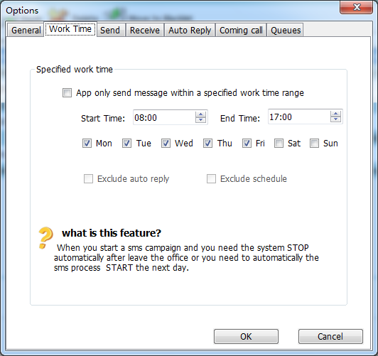 send SMS with specified work time